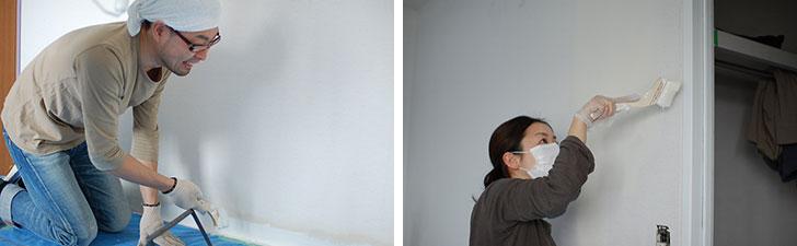 【画像1】寝室や子ども部屋の塗装を行う稲葉さんご夫婦(画像提供/HandiHouse project)