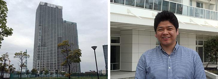 """【画像1】写真左:ザ・パークハウス晴海タワーズのティアロレジデンス。奥にあるクロノレジデンス(2013年築)とは管理組合が別々になっている。写真右:総戸数862戸という""""大所帯""""の管理組合理事長を務める牧内真吾さん(写真撮影/日笠由紀)"""