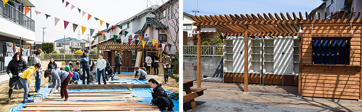 【画像6】施主とDIYを行う「HandiHouse project(ハンディハウスプロジェクト)」と共同で、地域住民約20人とともに1週間でつくった小屋。こちらは推せん文とともに本をシェアする「まちライブラリー」の本棚になる予定(左:画像提供/ブルースタジオ、右:写真撮影/末吉陽子)