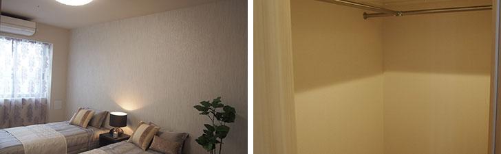 【画像15】写真左:8.5畳のメインベッドルーム。写真右:ベッドルームについているウォークインクローゼット(写真撮影/明日陽樹)