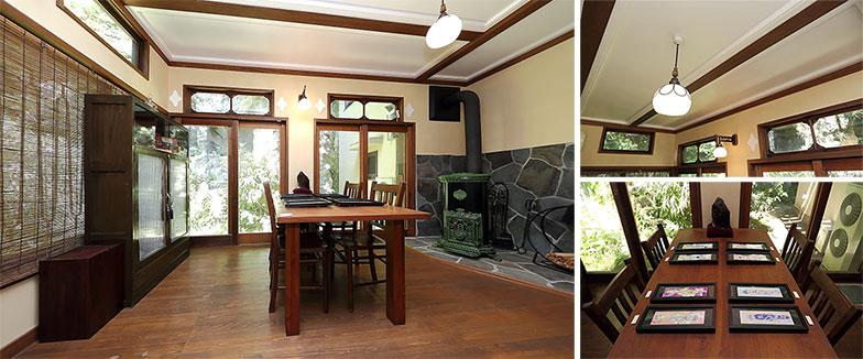 【画像6】暖炉のあるダイニングも展示スペースに。ダイニングテーブルの美人画がインテリアにもマッチ(写真撮影/飯田照明)