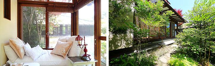 【画像7】安野さんのお気に入りスペースは縁側サンルームの隅っこのカウチ。ここから庭の草花を眺めインスピレーションを得ることも多いという(写真撮影/飯田照明)