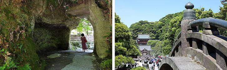 【画像9】鎌倉ならではの切通し(画像左)が出現したり、鶴岡八幡宮を散歩するだけでも癒やされる(写真撮影/飯田照明)