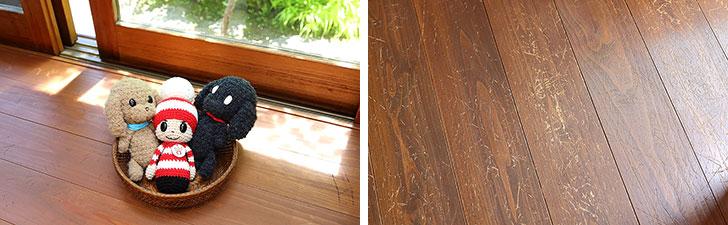 【画像10】原画の展示のほか複製品や各種グッズの販売も。オチビサンの「ジャック」のモデルとなった飼い猫「ジャック」の爪とぎの跡も探してみよう(写真撮影/飯田照明)