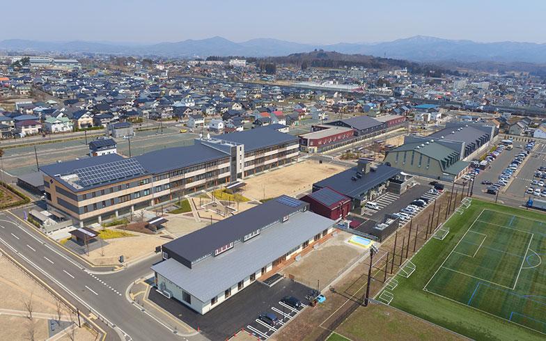 【画像1】JR東北本線・紫波中央駅の前に広がるオガール地区(10.7ha)最後のD街区が完成し、オガール地区の全ての施設が完成した(写真提供/紫波町)