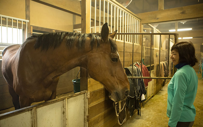【画像1】厩舎の1つで馬の世話をするオーナーの小森さん。柱や梁(はり)、塗り壁などは元の建物を残している(写真撮影/片山貴博)