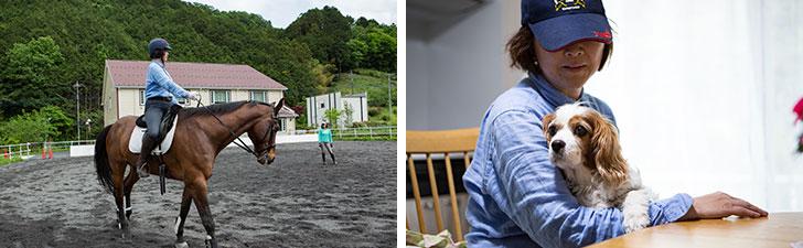 【画像8】左)乗馬のレッスンを受ける、入居者のSさん。右)常に一緒にいる愛犬アース(写真撮影/片山貴博)