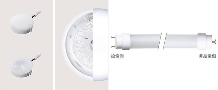 【画像2】LED電球の数々。左から、LED交換ユニット、LED内蔵タイプ、直管LEDランプ(画像提供/パナソニックエコソリューションズ)