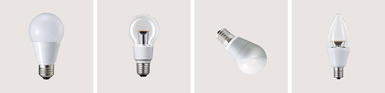 【画像3】光が拡散する全方向タイプ、クリア電球タイプ、コンパクトな下方向タイプ、ろうそくの形をしたシャンデリア電球タイプ(画像提供/パナソニックエコソリューションズ)