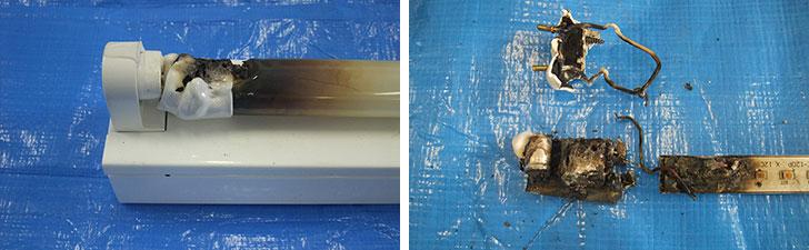 【画像4】過去に事故があった蛍光ランプと同じ口金付き直管LEDランプ。口金の樹脂と樹脂カバーが溶けており(左)、分解すると内部の回路基板も焼けてしまっている(右)(画像提供/日本照明工業会)