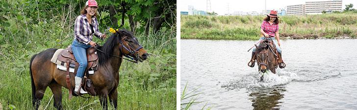 【画像1】河川敷で散歩中の山崎さんとマリヤ(画像提供/馬Cafe マリヤの風)