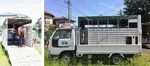 【画像4】出掛ける際に使う馬運車は軽トラを改造したもので、知人から安く譲り受けたものだそう(画像提供/馬Cafe マリヤの風)