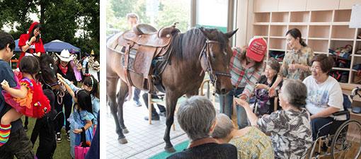 【画像6】左:多摩地区各所で行われる、さまざまな出張イベントで大人気のマリヤ。右:出張ホースセラピーの様子。マリヤとの触れ合いで心がほぐれます(画像提供/馬Cafe マリヤの風)