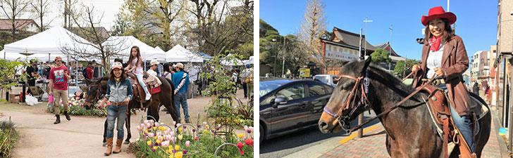 【画像7】こんな風に公園や街中を歩くイベントも。馬が人の近くにいるって、何だかいいですね(画像提供/馬Cafe マリヤの風)