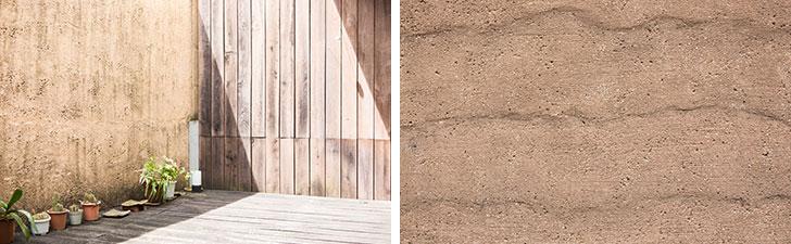 【画像12】中庭と外の壁は、小石を混ぜたリシン仕上げで変化のあるテクスチャー。波模様の左官仕上げは、新築完成当初から風化したような雰囲気を出した(写真撮影/片山貴博)