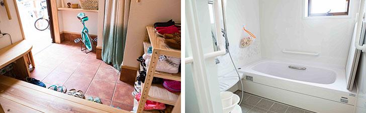 【画像2】二世帯で共有している玄関とお風呂。入浴の時間や順番は決めていないが、ゆずり合いやひと声かけることで、気持ちよく使えている。玄関まわりの掃除は妻が、お風呂掃除はHさんが担当する(写真撮影/片山貴博)