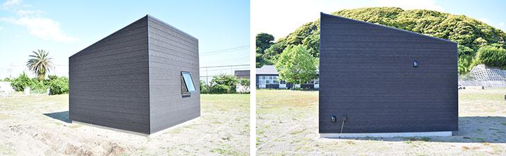 """【画像3】斜め後ろ(左)と真横(右)から見た小屋。""""引き算""""のデザインにこだわったというが、直線的なデザインがなんともカッコいい(撮影/末吉陽子)"""