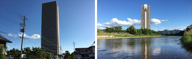 【画像1】住宅街のはずれに突如として現れる巨大マンション。西側は川に面している(写真撮影/石井逸美)