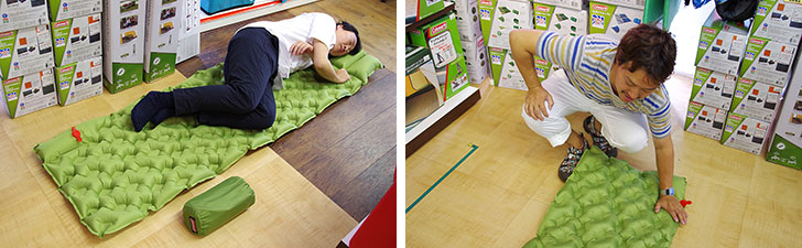 【画像3】酔いつぶれた友人を床に寝かせるのは申し訳ないという方にも最適。エアーマットウェーブ(7,000円+税)。手動ポンプ内蔵なので、肺活量に自信がなくても容易に膨らませられる(写真撮影/玉置豊)