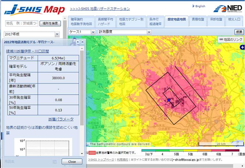 【画像7】地図上の四角い枠の部分が地下の断層の範囲。その中心部ほど赤い色が濃く、地震の揺れが大きくなると予想される(画像/J-SHIS Map画面キャプチャ)