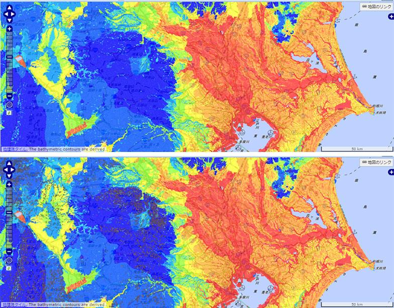 【画像11】上はチェックを入れる前、下はチェックを入れた後の地図。青いエリアに茶色いマークが表示される(画像/J-SHIS Map画面キャプチャ)