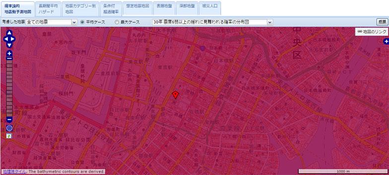 【画像13】住所を入れると、地図上に赤いピンが表示された(画像/J-SHIS Map画面キャプチャ)