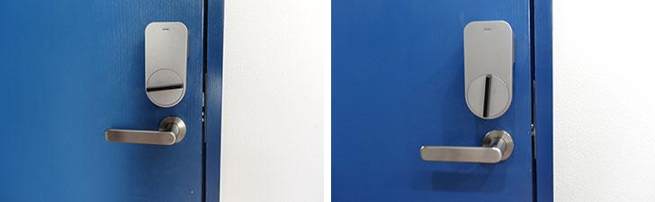 【画像1】部屋の内側にはサムターンに取り付けられるスマートキー「Qrio Smart Lock」が設置されている。アプリのボタンを押すと、鍵が解錠された(写真撮影/SUUMOジャーナル編集部)