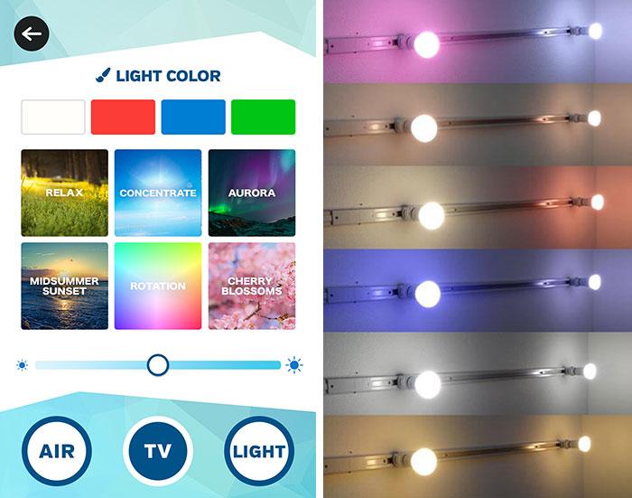 【画像5】左:照明の操作画面(画像提供/and factory) 右:照明は調光のほか、リラックスモードや晴れやかな青空のモード、オーロラモードなど6パターンの照明モードが選べる(写真撮影/SUUMOジャーナル編集部)