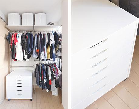 【画像8】川崎邸のファミリークローゼットは、洗濯機を置いている1階の洗面所の向かいにあります。洗濯物を干すテラスも1階に設けることで、洗濯の動線を最低限に抑えられるよう計算して設計されていました(写真撮影/川俣満博 提供/片づけ収納ドットコム)
