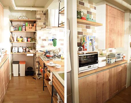【画像7】すっきりと整頓された清潔感のあるキッチン。壁のアクセントに使われているデザインタイルはLIXILの「スモーキートーン」というシリーズ。キッチン全体で200万円ほどかけてリノベーションしたイメージだそう(撮影/末吉陽子)