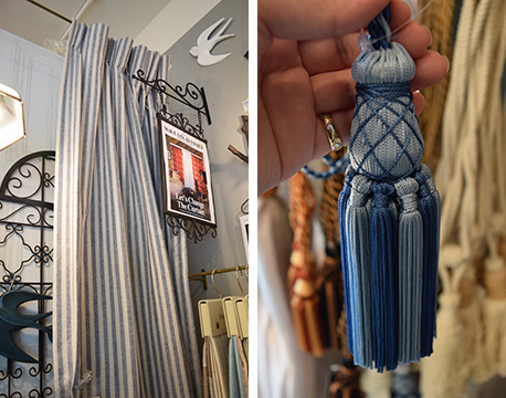 【画像5】お部屋の印象を左右するカーテンは淡い色味のブルーストライプや涼やかなレースがおすすめ。おなじくブルーのタッセルでまとめると上品ですがすがしい印象に(写真撮影/末吉陽子)