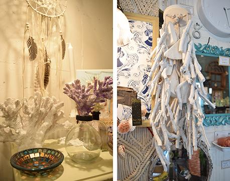 【画像6】サンゴをあしらった置物やブルーのガラスが印象的な小皿(左)、流木をイメージしたオブジェ(右)などを、飾り棚やチェストの上など目立つところにまとめると、一気にマリンな空間に変身(写真撮影/末吉陽子)