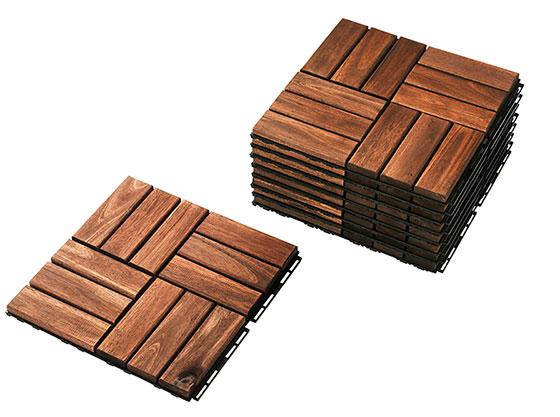 【画像3】1パネル30cm角。アカシアむく材を使用。ブラウン、グレー、ダークグレーの3色。RUNNEN:ルッネン(画像提供/イケア)