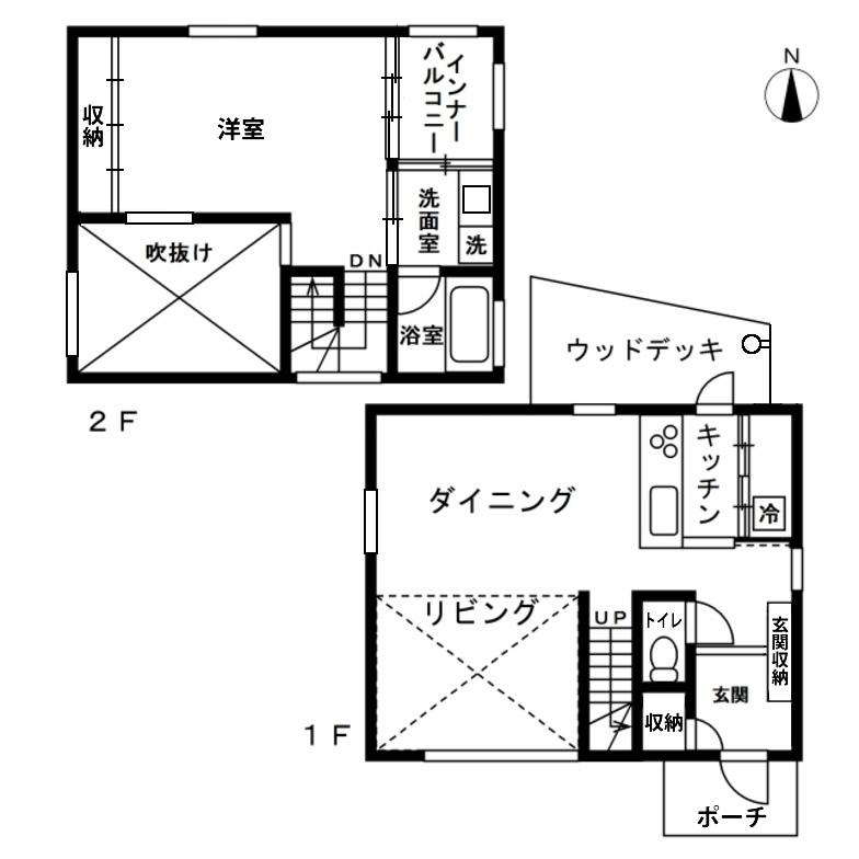 【画像3】間取りは[1LDK+インナーバルコニー]の都市型住宅。面積が狭くても、立体空間とインテリアで豊かな暮らしを実現する無印良品の提案(資料提供/無印良品の家、作図/SUUMOジャーナル編集部)