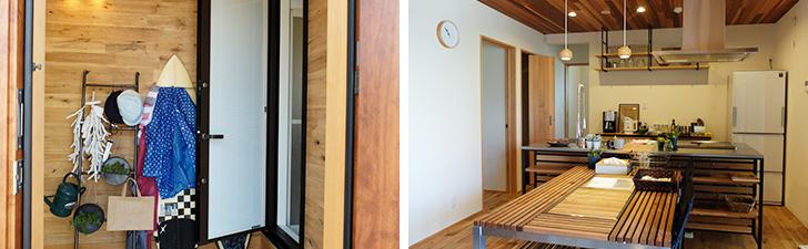 【画像7】玄関にサーフボードが立てかけられた「OFFTIME」。入ると右側がすぐ浴室なので、畑仕事や庭いじりをする人にもオススメ(写真撮影/倉畑桐子)