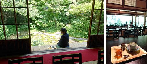 【画像6】写真左/庭園に面したぬれ縁は人気席だそう。座布団も完備しています。写真右/副住職お手製の「ほうじ茶ゼリーと抹茶ラテ」は暑い日にピッタリ(写真撮影/金井直子)