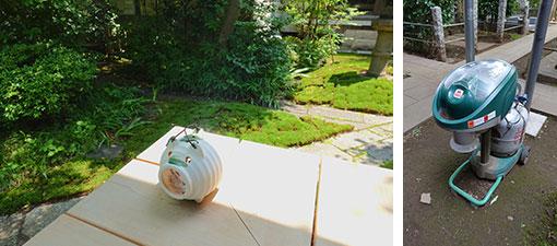 【画像8】写真左/ぬれ縁で頑張る蚊遣り豚さん。写真右/お墓で稼働中の「モスキートマグネット」。メーカー希望小売価格17万9000円(税別)と高額ですが、敷地が広く、蚊の多いお寺には強い味方です(写真撮影/金井直子)