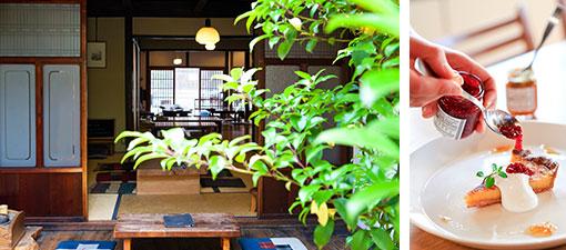 【画像12】写真左/美観地区にある「町家喫茶 三宅商店」。戦前から続く荒物屋「三宅商店」の屋号と建物の風情を引き継いでいます。襖を外した大空間は風の抜けの良さが特徴。写真右/モーニング、ランチのほか、スイーツも種類豊富で人気だそう(写真提供/三宅商店)