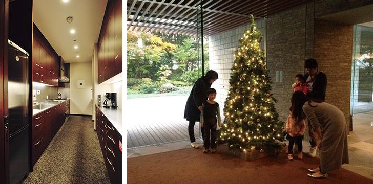 【画像2】(左)ダイニングサロンにはキッチンが完備されていて、本格的な調理も可能(右)コミュニティ形成の一環として始めたクリスマスツリーの飾りつけと、子どもたちへのお菓子の配布が好評