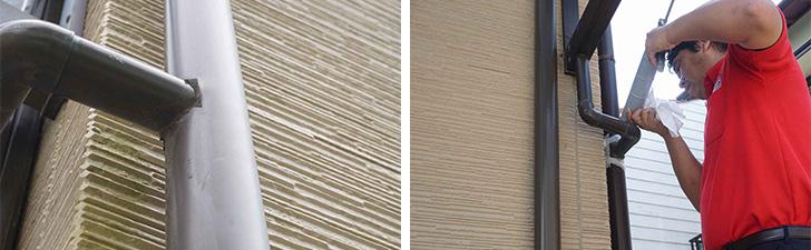 【画像4】水漏れのある雨どい(左)その日のうちにコーティングで修理(左)(写真撮影/SUUMOジャーナル編集部)
