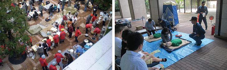 【画像3】(左)1階の公開空地で行われたもちつき大会。周辺住人とマンション住民の格好の交流の場に (右)年に1回防火訓練も実施。消防署職員の指導でAEDの使い方、人工呼吸の方法などを学ぶ