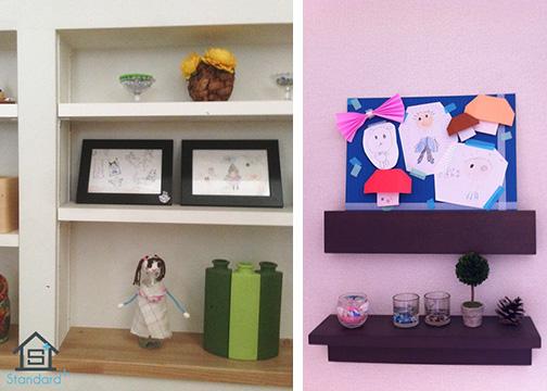 【画像2】左:お気に入りの絵はフォトフレームに。立てかけられるので、工作品と一緒に棚に飾ることもできます。右:色紙に小さな絵や折り紙を貼って、折り紙などでかわいくデコレーション。小物と一緒に飾るとお部屋のインテリアになります(画像提供/Standard+)