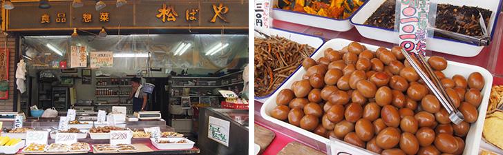 【画像2】写真左:松ばやの外観。写真右:人気商品の煮卵、5個入りで税込220円。ちなみに、お店は60年続いていて、現在は3代目だそう(写真撮影/明日陽樹)