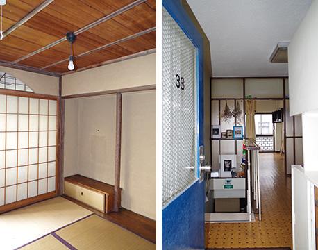 【画像3】左:本格的な欄間や床の間が設置された和室。右:今では手に入らないようなガラスで区切られたLDK(写真提供/旭化成不動産レジデンス)
