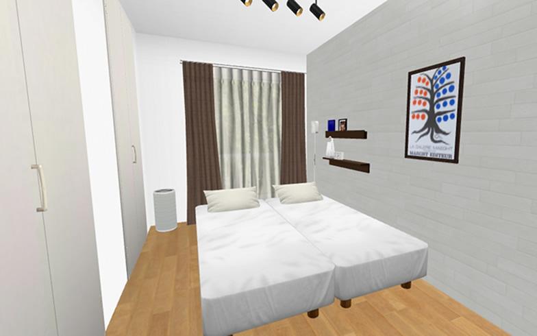 【画像4】寝室に置く家具は、シングルサイズより横幅が小さいスモールサイズのベッド2台のみに。2台並べればクイーンサイズと同じ大きさになります。最低限の小物は「壁に付けられる家具」に置き、ベッド以外の家具のない快適な就寝環境に(画像提供/良品計画)