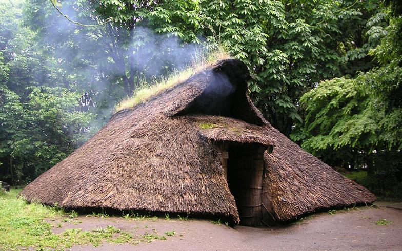 【画像4】復元した竪穴式住居。週に何度か火を焚いて維持管理をしています(東京都教育委員会所蔵)