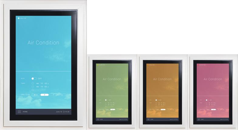 【画像3】窓が部屋の空気環境を測定。クリーンな状態の青色から汚れた状態の赤色まで、レベルを色でお知らせ(画像提供/YKK AP)