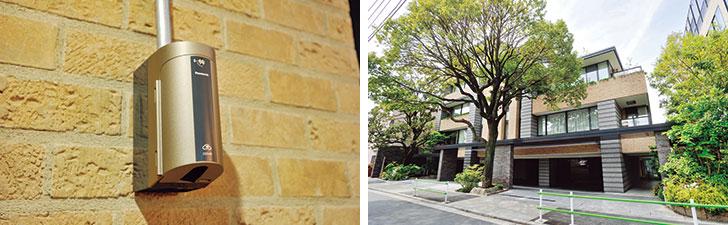 【画像1】(左) 電気自動車の増加を視野に入れ、地下駐車場には充電設備を新設 (右) 入居者の手が届かない部分の窓は、年に3回清掃を実施。この際に希望すれば、有償でバルコニーまわりを清掃してもらえる(写真撮影/柴田ひろあき)