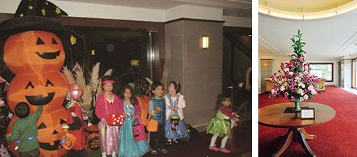 【画像2】(左)ハロウィンの時期にはラウンジに装飾を施し、共用エントランスを開放。訪れる子どもたちにお菓子を配っている(写真提供/プラウド元麻布)(右)共用ラウンジに飾ってある生花は、生花店によって週に一度交換される。入居者同士の会話のきっかけになることも多い(写真撮影/柴田ひろあき)