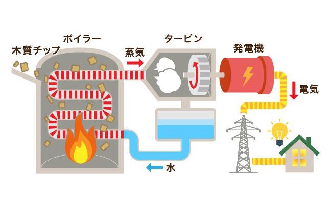 【画像1】木質バイオマス発電の仕組み。木のチップを燃やしてタービンを回し、発電する(画像作成/SUUMOジャーナル編集部)